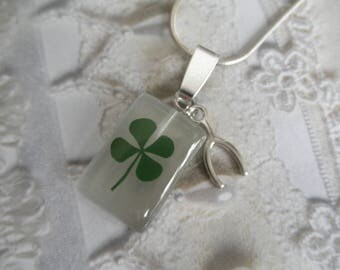 4 Leaf Clover White Cat's Eye Rectangle Pendant w/Wishbone Charm-Nature's Wearable Art-Symbolizes Luck, Love, Hope, Faith-Gifts Under 30