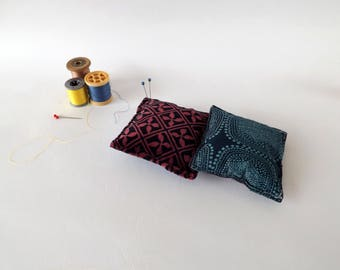 Recycled Fabric Swatch, Scrap and Offcut Pin Cushion with Eco Friendly Wadding, Velvet or Blue Prints
