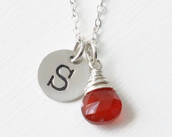 Personalized Initial and July Birthstone Necklace in Sterling Silver / Personalized Birthstone Jewelry