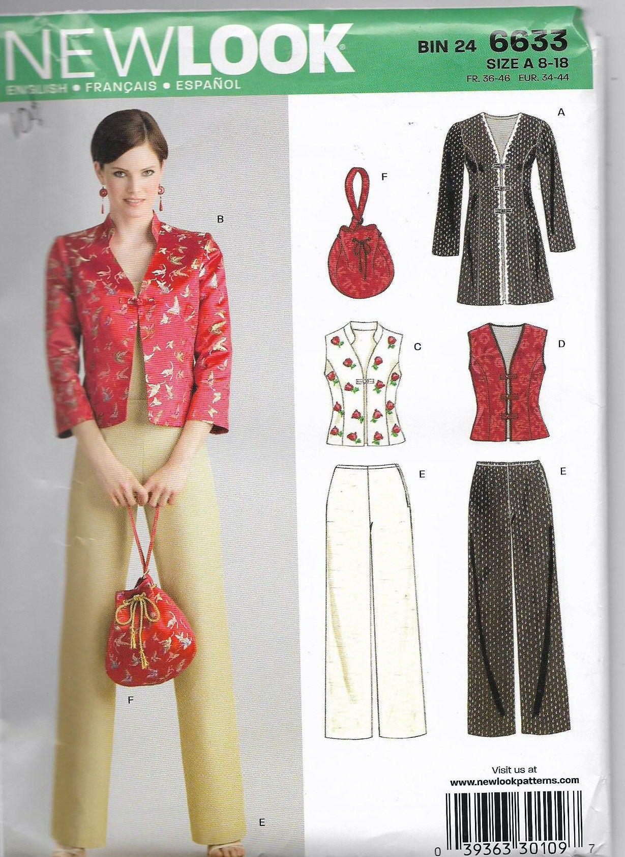 New Look 6633 Pattern Misses Jacket Pants Purse Asian ...
