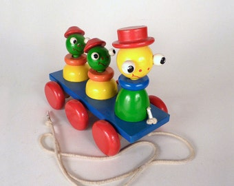 Vintage, Pull Toy, Baby toy, Wooden toy, Goofy animals