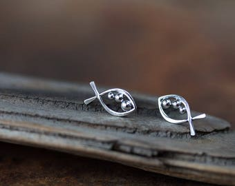 Stylized Fish Stud Earrings, Sterling Silver Wire Outline with Three Silver Balls, Handmade Silver Studs, Aquarium Series