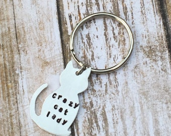 Kitty Kitten Pet Hand Stamped Crazy Cat Lady Keychain