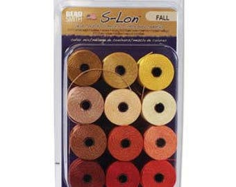 Fall Collection Of Tex 210 S-Lon Beading Cord, 12 Spools of Tex 210 Beading Cord