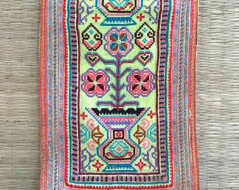 Vintage Hmong Fabric hill tribe, Hand Embroidered Tribal Textile, tribal wall hanging