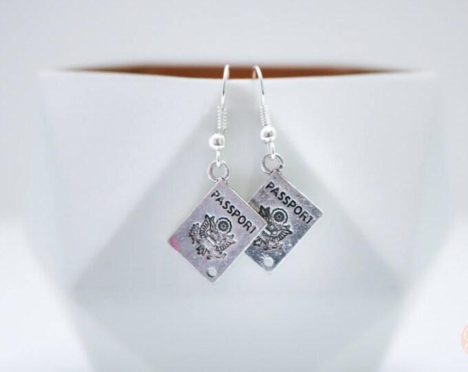 Silver Passport Dangle Earrings.