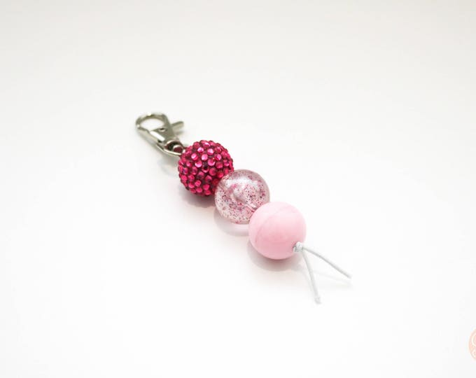 Pink Sparkle Bauble Beaded Keychain | Zip Pull.