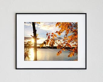 AUTUMN LAKESIDE | photo print, wall art, autumn photo, sunrise, lakeside, fall landscape, northern michigan