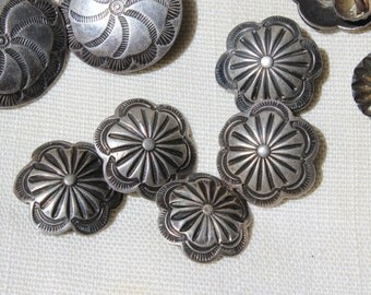 """6 Buttons Native American Silver Sewing Buttons Hand Stamped Navajo 3/4"""" Lot VINTAGE by Plantdreaming"""