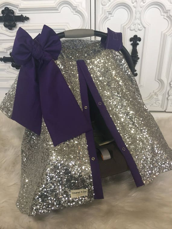 Silver and Purple car seat cover , car seat canopy , silver , sparkle