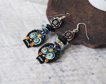 Sugar Skulls Earrings, Halloween Earrings, Day of the Dead Jewelry, Artisan Enamel, Flower Earrings, Black Skull Earrings, Calaveras