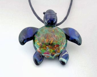 Turtle - Hand Blown Glass Sea Turtle Pendant Ocean Vortex Back Lampwork Focal Bead, Your Choice of Necklace Free (T7197A)