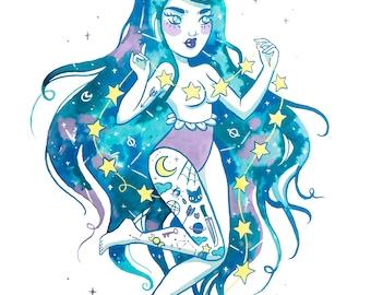 Luna the Star Slinger A4 Print