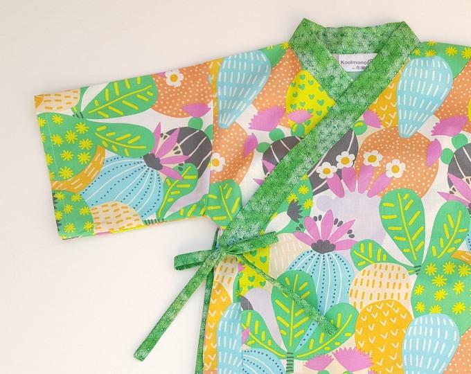 Kids Kimono Jinbei - CACTUS BLOOM - Japanese casual wear boys girls baby toddler jinbei