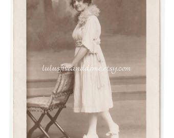 Vintage Real Photo Postcard - Portrait of Lovely Young Woman - Edwardian