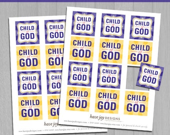 "2018 LDS Primary Theme 2""x2"" Square Tiles Printable (Instant Download) - I Am a Child of God"