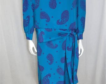 Zandra Rhodes Blue and purple paisley 100% silk drop waist dress size M
