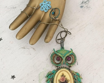 perched~upcycled owl pendant, repurposed altered jewelry, altered jewelry, owl pendant, assemblage, boho jewelry