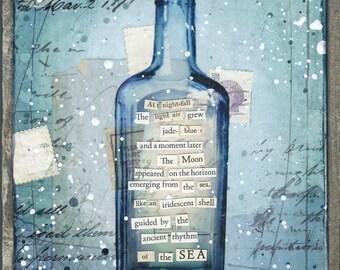 Message in a Bottle No. 26 | Original Painting | Rustic Beach Art | Word Art | Mixed Media Art | New England Art