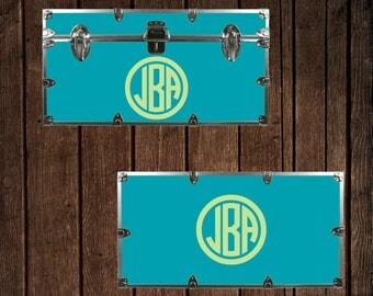 Camp Trunk monogram, Circle frame decal, Dorm Trunk decal, Footlocker sticker, vinyl lettering W00933