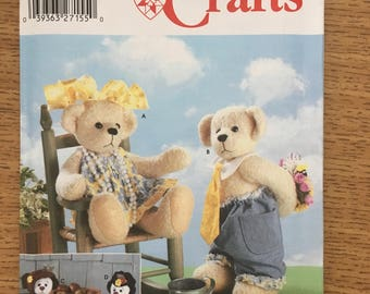 """Sewing Pattern ~ Simplicity 5302 ~ Straw Stockings by Sherly Echard 14"""" Soft Sculpture Teddy Bears with Clothes"""