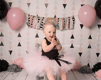 Pink and Black Tutu   Paris Party 1st Birthday Tutu Dress   Baby Birthday Tutu   Ballerina Birthday   Pink Birthday Tutu   Cake Smash Tutu
