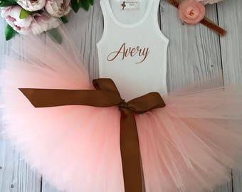 Copper Flower Girl Dress   Peach Birthday Tutu   Baby Girl Tutu Skirt