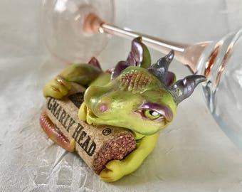 Green Dragon Figurine - Wine Lovers Art- OOAK Miniature Fantasy Sculpture - Mythical Creature Gnarly Head Wine Cork Hugger