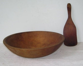 Munising Wooden Dough Bowl with Wooden Spatula, Munising, Mi, Rustic Kitchen, Carved Turned Wood Signed Munising Dough, 10 1/2 Inch Bowl