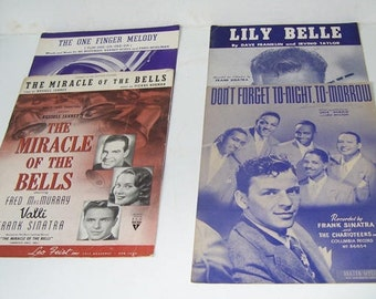 4 Frank Sinatra Vintage Sheet Music, The Miracle of the Bells 1948, The One Finger Melody, Lily Belle, Don't Forget Tonight Tomorrow,