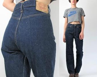 Vintage Levis 501s Jeans High Waisted Jeans Levis Strauss Jeans Womens Jeans Crisp Dark Wash Denim Straight Leg Jeans Button Fly (M) E7027