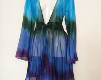 1990s Tie Dye BEACH COVER UP Baby Doll Dress, duster Blouse, free size or large