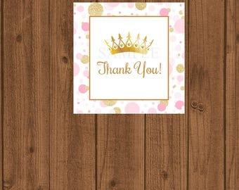 Princess Favor Tag, Princess Baby Shower Favor Tag, Pink and Gold Favor Tag, Princess Birthday Tag, Princess Thank You, Instant Download