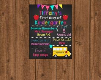 First Day of School Sign, 1st Day of School Sign, Chalkboard School Sign, School Photo Prop, 1st Day of Kindergarten Sign
