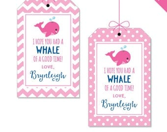 Pink Whale Birthday Party - Whale Party Favor Tags - Personalized DIY printable favor tags