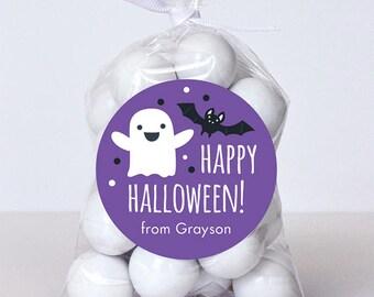 Halloween Stickers - Happy Halloween Ghost & Bat (Purple) - Sheet of 12 or 24