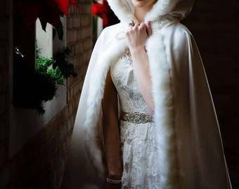 Bridal Cape Medium-length-cape 37-inch Ivory / Ivory Satin with Fur trim Wedding Cloak Handmade in USA