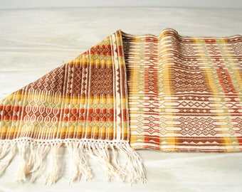 Vintage Woven Table Runner, Neutral Table Runner, Brown, Orange, and Green Textile