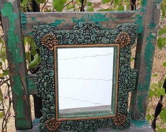 "Unique & Gorgeous 1960's Cristobal Herrera Lozano Artesanias Mexicanas Folk Art Aztec Crushed Stone Turquoise Mirror measuring 13"" x 10.5"" ~"
