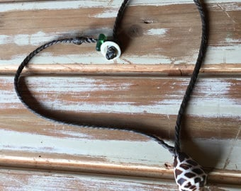 Hawaiian Hebrew cone shell necklace with seaglass