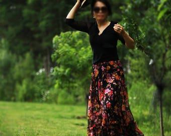 Womens Skirt, Maxi Skirt, classic skirt, boho skirt, Silk Skirt