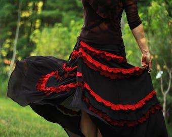 Bohemian wrap Skirt , Boho Skirt , Bohemian Clothing , red wine and brown Gypsy Skirt , Long Skirt , Any Size