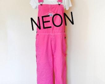 CUSTOM DYED Neon Bib Overall Pants - Pink, Green, Aqua, Orange, Yellow Dyed Adult Youth Shorts - Waist 30, 32, 34, 36, 38, 40, 42, 44, 46