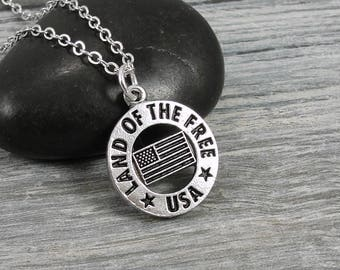 Patriotic USA Necklace, Silver Land of the Free and Home of the Brave Necklace, National Anthem Charm on a Silver Cable Chain