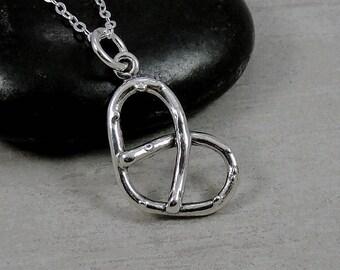 Pretzel Necklace, Sterling Silver Pretzel Charm on a Silver Cable Chain
