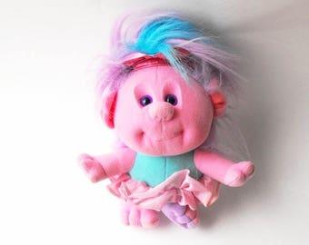 1989 Hobnobbins Cousin Tippy Toes Troll Ballerina Princess Sugar Plum Fairy - Retro 1980s Ballet Dancer Tutu Rainbow Hair Doll Playskool Toy