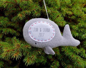 Personalized Whale Christmas Ornament, Couple Christmas Ornament, Family Custom Ornament, Personalised Christmas Decoration