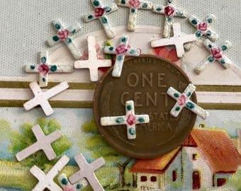 Christian Crosses,Vintage Guilloche Crosses,Enameled Crosses,cabochons Silver Rose Painted Religious Roses enameled Findings NOS #G85N