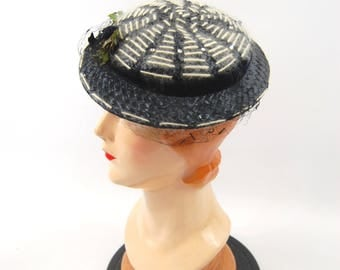 1950s Navy Blue Straw Hat - White Stripes // Blue and White small Brimmed Hat - Spiderwebs - Rhinestones mid 50s