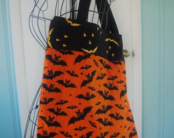 Halloween Trick or Treat Tote Bag with Black Bats on an Orange Background